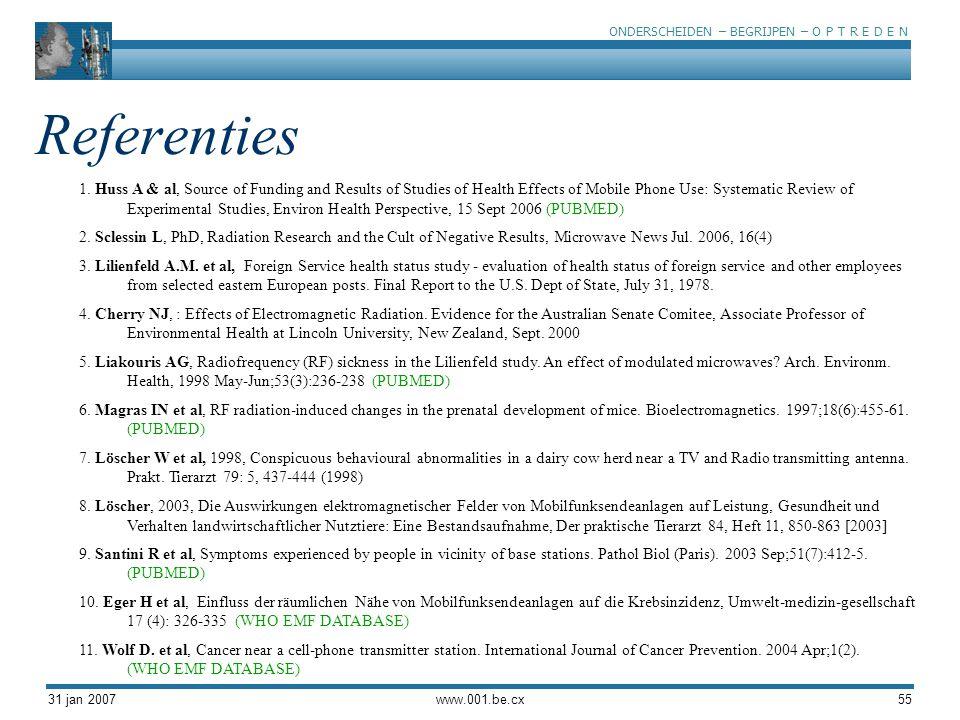 ONDERSCHEIDEN – BEGRIJPEN – O P T R E D E N 31 jan 2007www.001.be.cx55 Referenties 1. Huss A & al, Source of Funding and Results of Studies of Health
