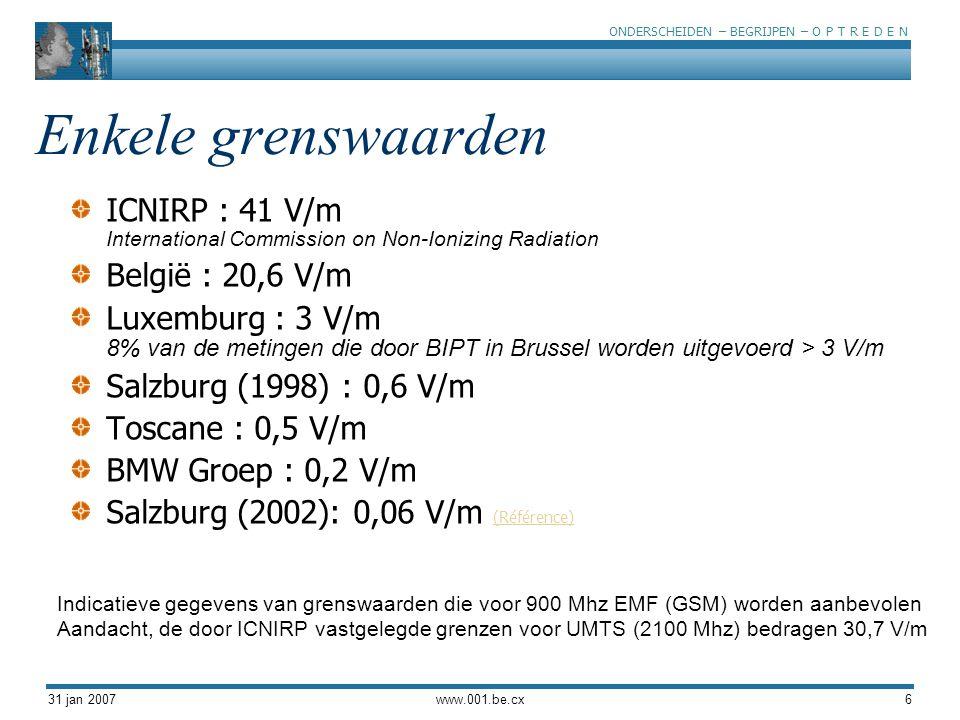 ONDERSCHEIDEN – BEGRIJPEN – O P T R E D E N 31 jan 2007www.001.be.cx6 Enkele grenswaarden ICNIRP : 41 V/m International Commission on Non-Ionizing Rad