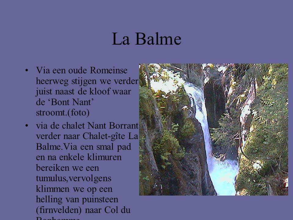La Balme •Via een oude Romeinse heerweg stijgen we verder juist naast de kloof waar de 'Bont Nant' stroomt.(foto) •via de chalet Nant Borrant verder n