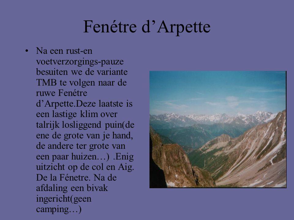 Fenétre d'Arpette •Na een rust-en voetverzorgings-pauze besuiten we de variante TMB te volgen naar de ruwe Fenétre d'Arpette.Deze laatste is een lasti