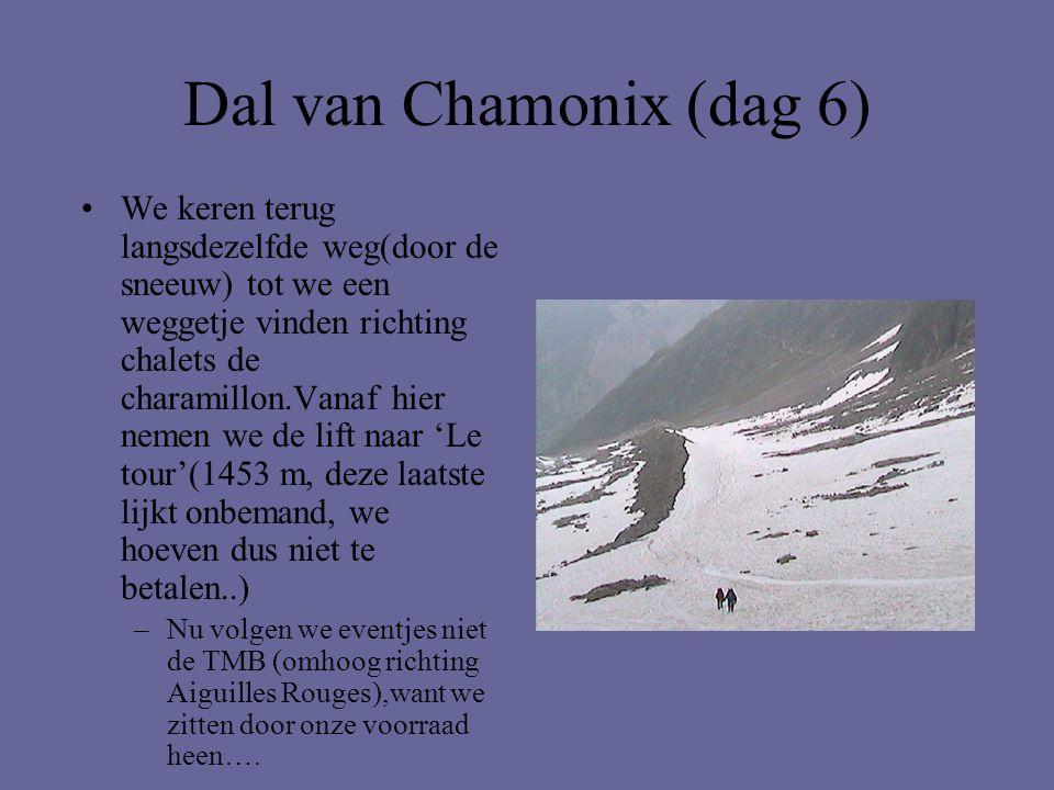 Dal van Chamonix (dag 6) •We keren terug langsdezelfde weg(door de sneeuw) tot we een weggetje vinden richting chalets de charamillon.Vanaf hier nemen