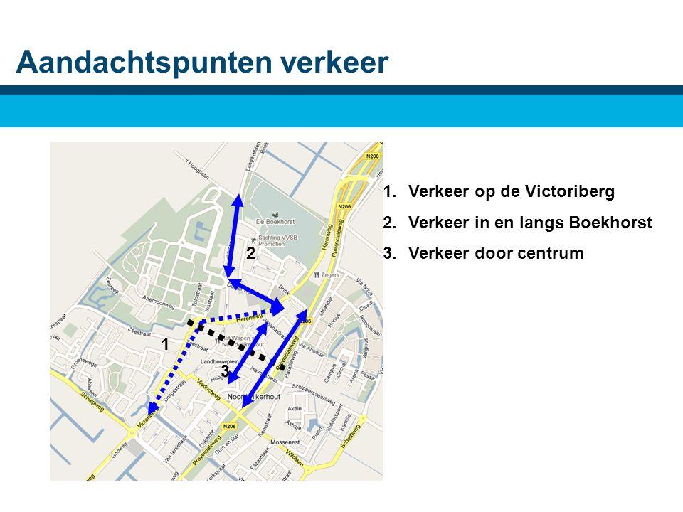 Aandachtspunten verkeer 1.Verkeer op de Victoriberg 2.Verkeer in en langs Boekhorst 3.Verkeer door centrum 1 2 3