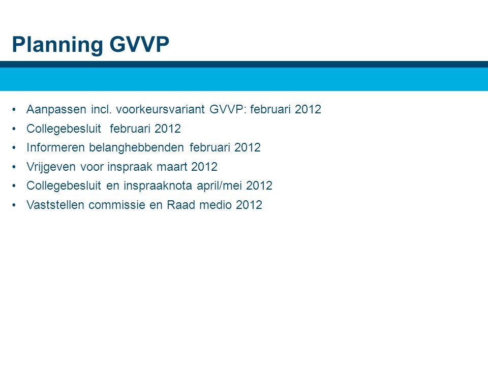 Planning GVVP •Aanpassen incl.