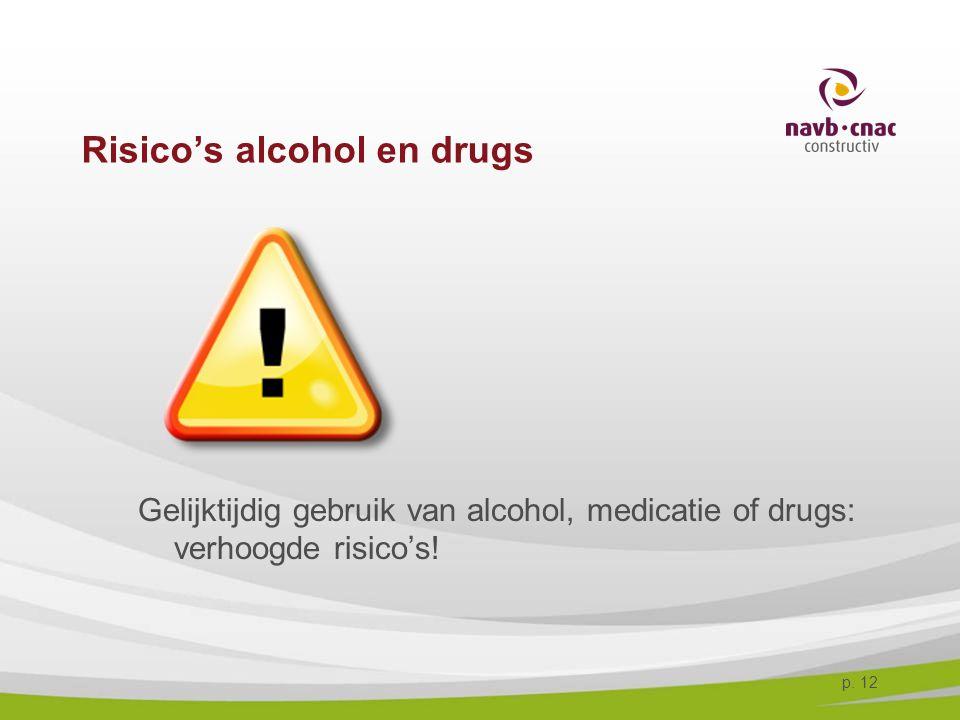 p. 12 Risico's alcohol en drugs Gelijktijdig gebruik van alcohol, medicatie of drugs: verhoogde risico's!