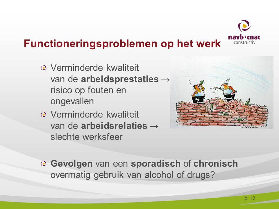 p. 13 Functioneringsproblemen op het werk Verminderde kwaliteit van de arbeidsprestaties → risico op fouten en ongevallen Verminderde kwaliteit van de