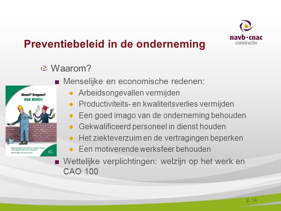 p. 14 Preventiebeleid in de onderneming Waarom? ■Menselijke en economische redenen: ●Arbeidsongevallen vermijden ●Productiviteits- en kwaliteitsverlie