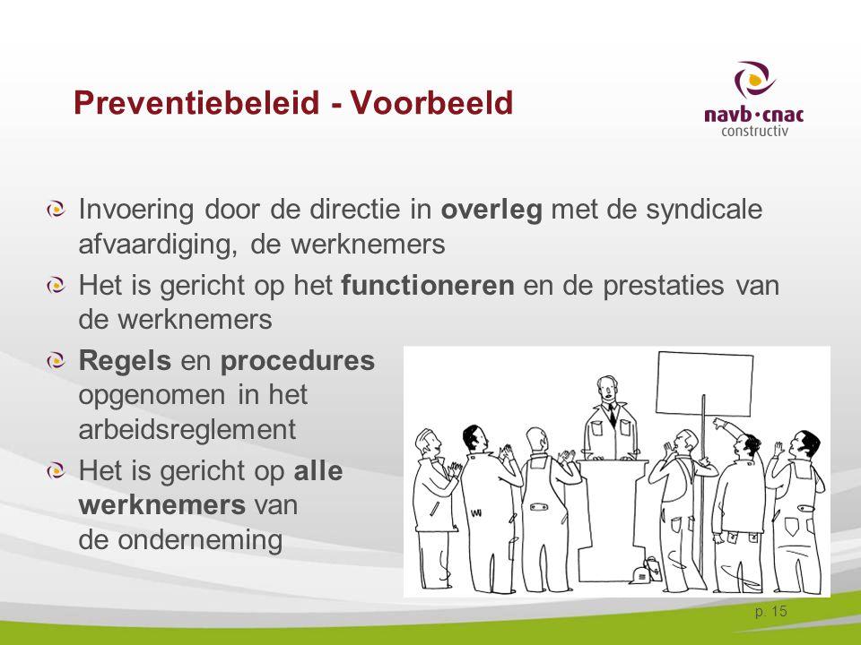 p. 15 Preventiebeleid - Voorbeeld Invoering door de directie in overleg met de syndicale afvaardiging, de werknemers Het is gericht op het functionere