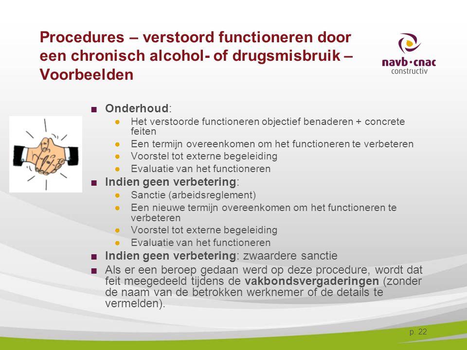 p. 22 Procedures – verstoord functioneren door een chronisch alcohol- of drugsmisbruik – Voorbeelden ■Onderhoud: ●Het verstoorde functioneren objectie