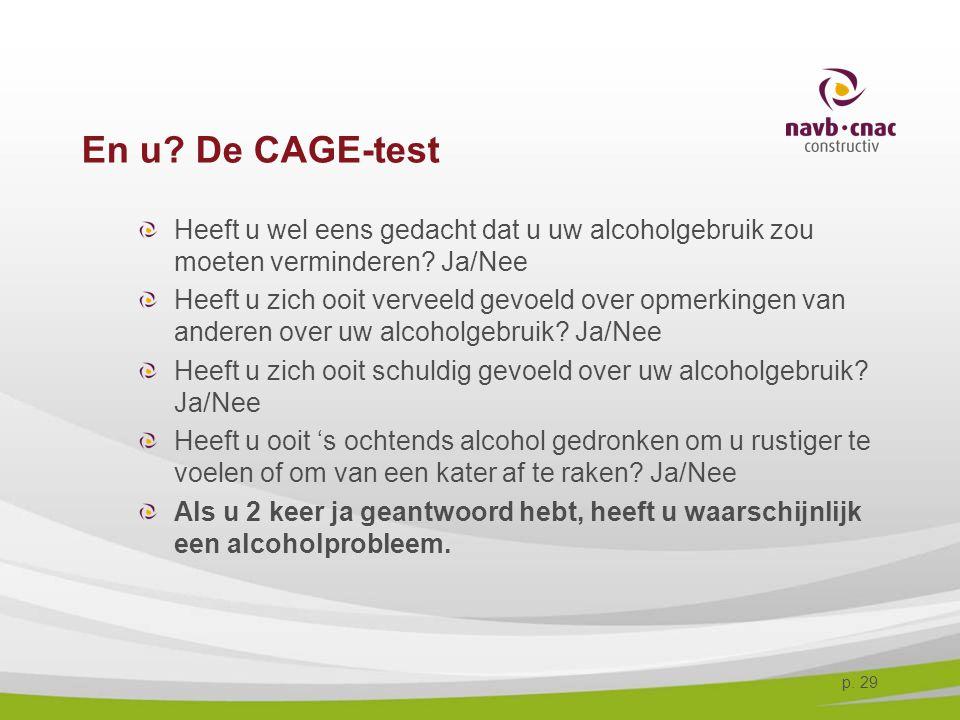p. 29 En u? De CAGE-test Heeft u wel eens gedacht dat u uw alcoholgebruik zou moeten verminderen? Ja/Nee Heeft u zich ooit verveeld gevoeld over opmer