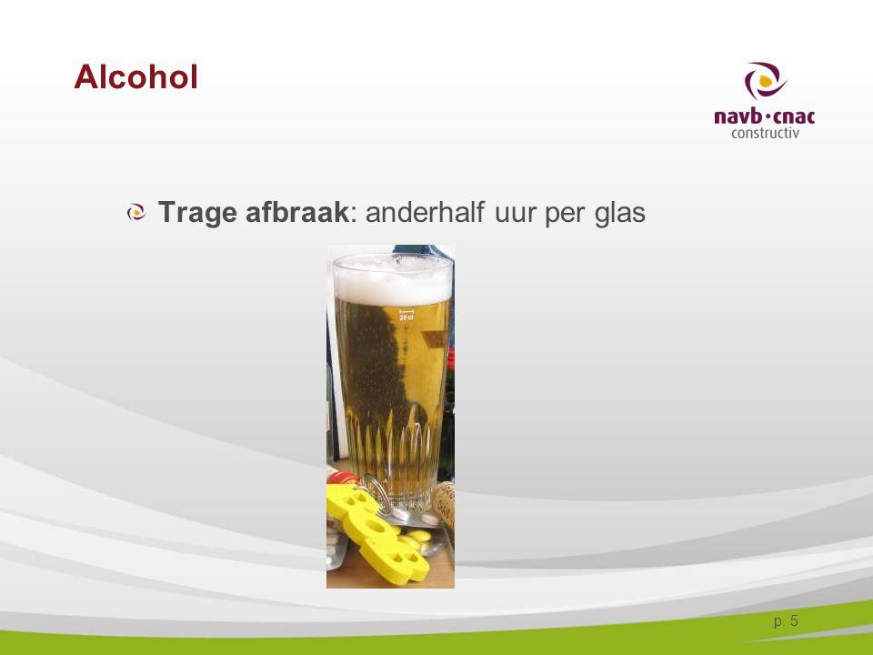 p. 5 Alcohol Trage afbraak: anderhalf uur per glas