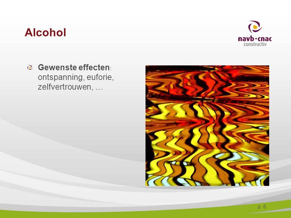 p. 6 Alcohol Gewenste effecten : ontspanning, euforie, zelfvertrouwen, …