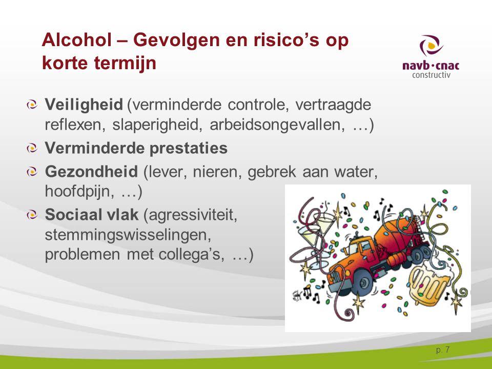 p. 7 Alcohol – Gevolgen en risico's op korte termijn Veiligheid (verminderde controle, vertraagde reflexen, slaperigheid, arbeidsongevallen, …) Vermin