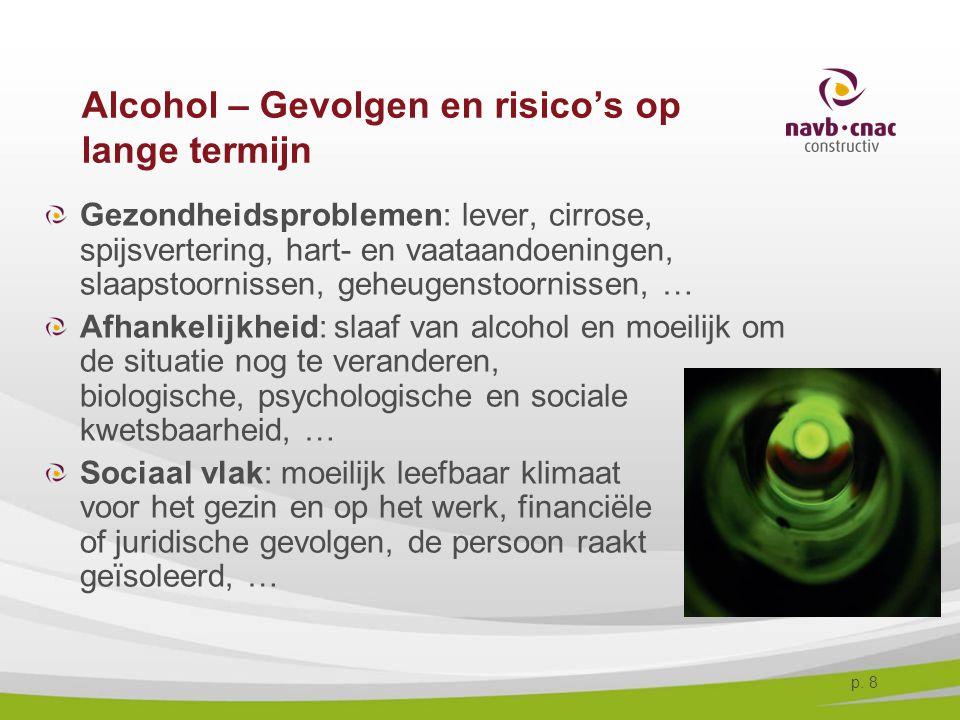 p. 8 Alcohol – Gevolgen en risico's op lange termijn Gezondheidsproblemen: lever, cirrose, spijsvertering, hart- en vaataandoeningen, slaapstoornissen