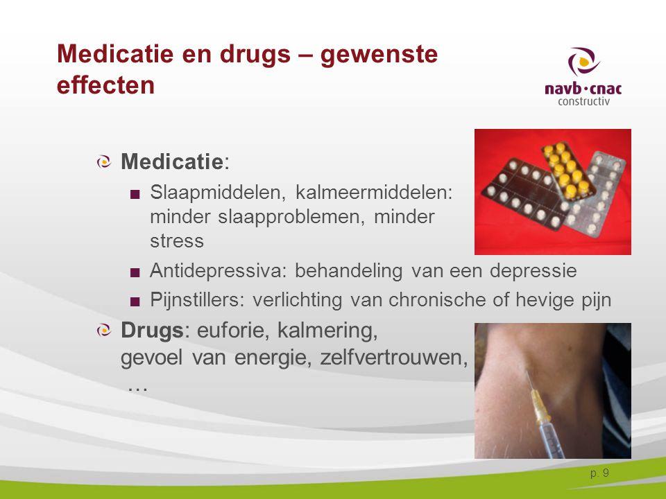 p. 9 Medicatie en drugs – gewenste effecten Medicatie: ■Slaapmiddelen, kalmeermiddelen: minder slaapproblemen, minder stress ■Antidepressiva: behandel