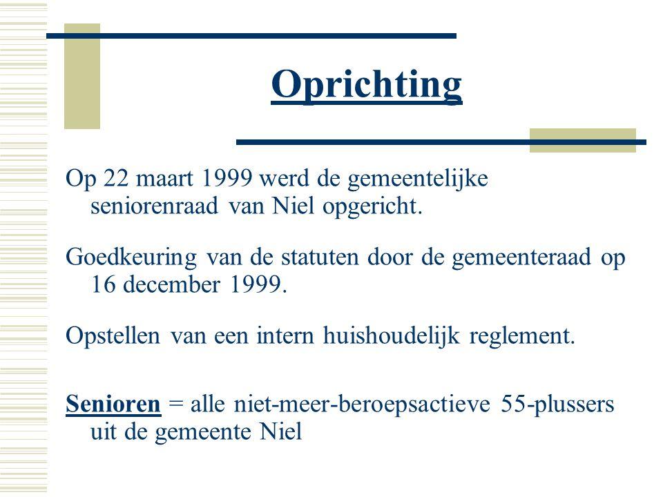 Oprichting Op 22 maart 1999 werd de gemeentelijke seniorenraad van Niel opgericht.