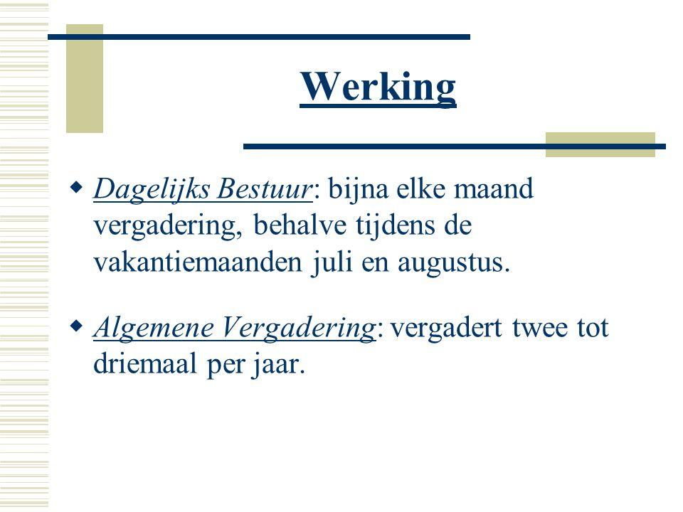 Werking  Dagelijks Bestuur: bijna elke maand vergadering, behalve tijdens de vakantiemaanden juli en augustus.
