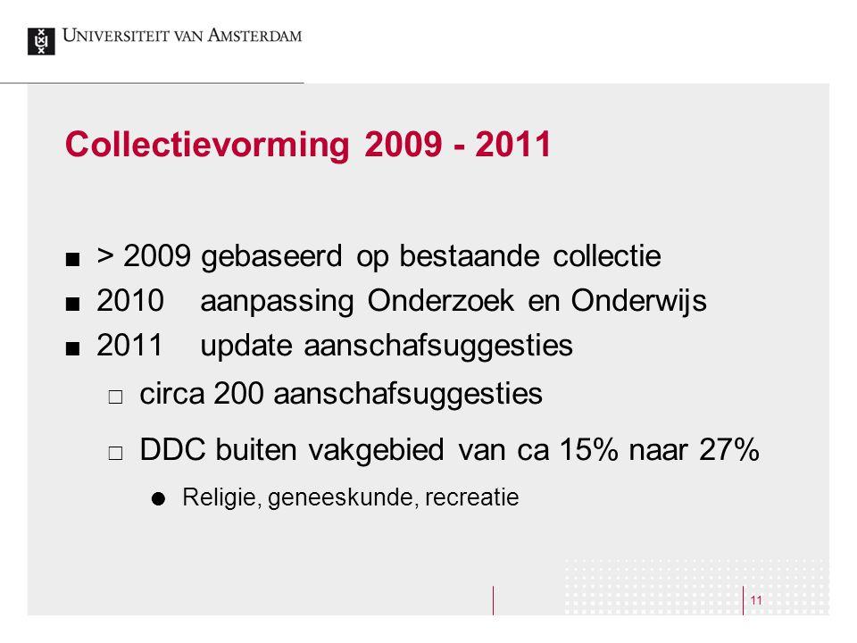 11 Collectievorming 2009 - 2011 > 2009 gebaseerd op bestaande collectie 2010 aanpassing Onderzoek en Onderwijs 2011 update aanschafsuggesties  circa 200 aanschafsuggesties  DDC buiten vakgebied van ca 15% naar 27%  Religie, geneeskunde, recreatie