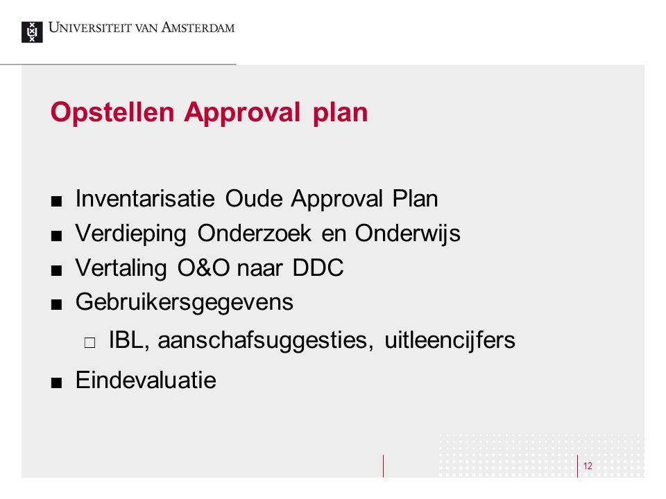 12 Opstellen Approval plan Inventarisatie Oude Approval Plan Verdieping Onderzoek en Onderwijs Vertaling O&O naar DDC Gebruikersgegevens  IBL, aanschafsuggesties, uitleencijfers Eindevaluatie