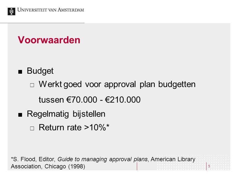 5 Voorwaarden Budget  Werkt goed voor approval plan budgetten tussen €70.000 - €210.000 Regelmatig bijstellen  Return rate >10%* *S.