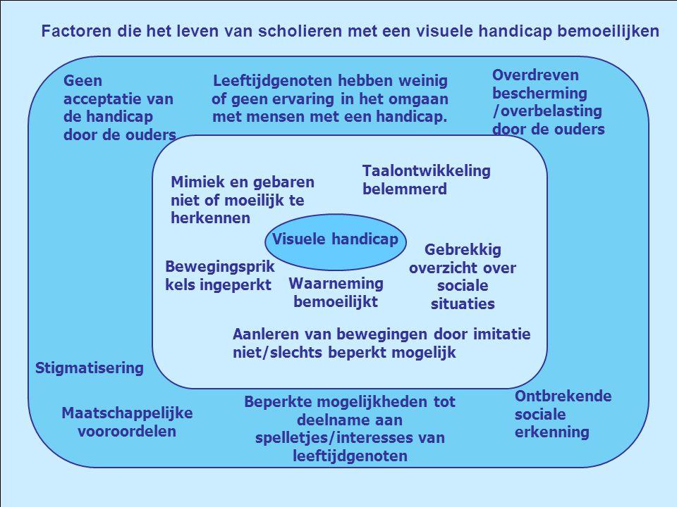 Visuele handicap Gebrekkig overzicht over sociale situaties Overdreven bescherming /overbelasting door de ouders Beperkte mogelijkheden tot deelname a