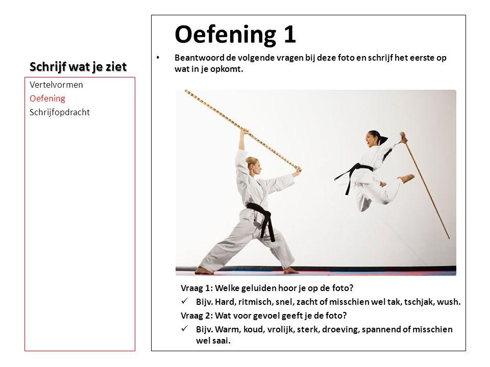 Schrijf wat je ziet Oefening 1 • Beantwoord de volgende vragen bij deze foto en schrijf het eerste op wat in je opkomt. Vraag 1: Welke geluiden hoor j