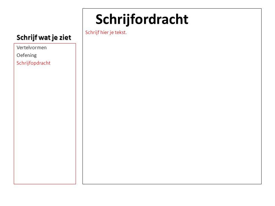 Schrijf wat je ziet Schrijfordracht Schrijf hier je tekst. Vertelvormen Oefening Schrijfopdracht