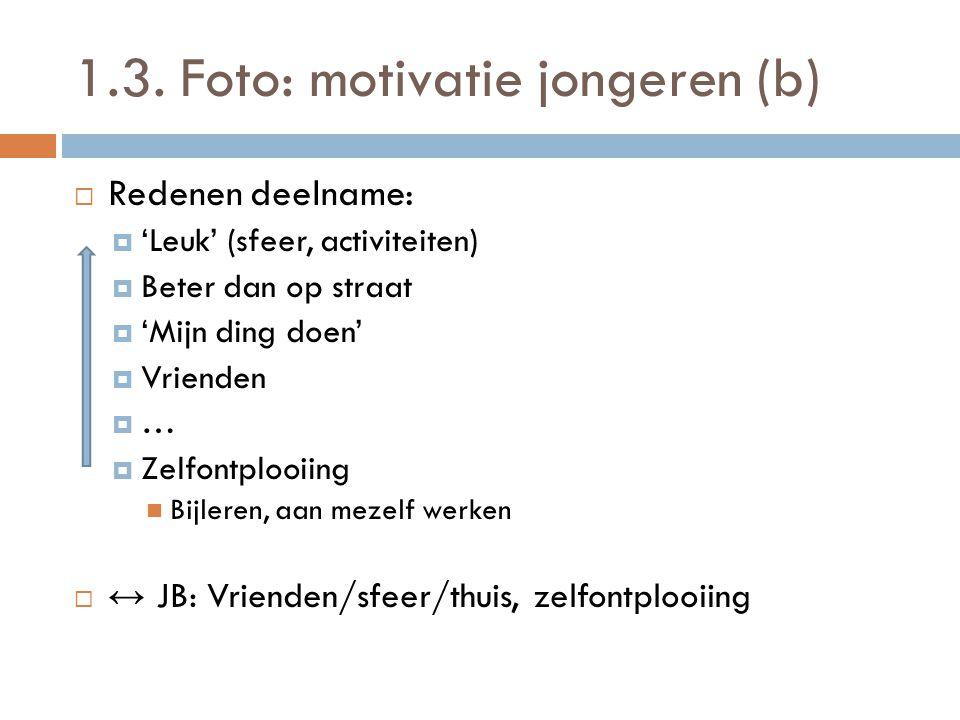 1.3. Foto: motivatie jongeren (b)  Redenen deelname:  'Leuk' (sfeer, activiteiten)  Beter dan op straat  'Mijn ding doen'  Vrienden  …  Zelfont