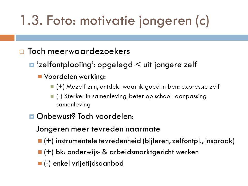 1.3. Foto: motivatie jongeren (c)  Toch meerwaardezoekers  'zelfontplooiing': opgelegd < uit jongere zelf  Voordelen werking:  (+) Mezelf zijn, on