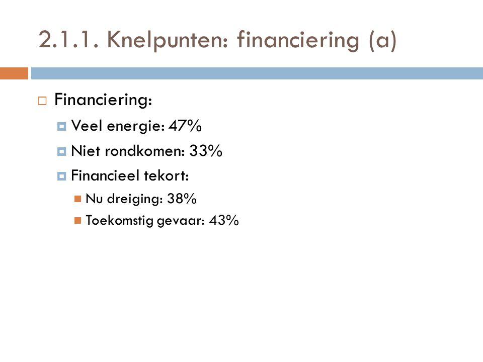 2.1.1. Knelpunten: financiering (a)  Financiering:  Veel energie: 47%  Niet rondkomen: 33%  Financieel tekort:  Nu dreiging: 38%  Toekomstig gev