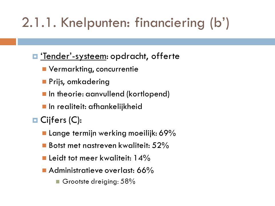 2.1.1. Knelpunten: financiering (b')  'Tender'-systeem: opdracht, offerte  Vermarkting, concurrentie  Prijs, omkadering  In theorie: aanvullend (k