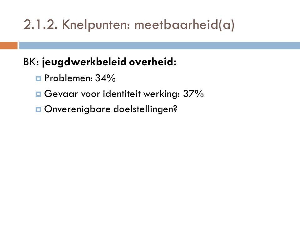 2.1.2. Knelpunten: meetbaarheid(a) BK: jeugdwerkbeleid overheid:  Problemen: 34%  Gevaar voor identiteit werking: 37%  Onverenigbare doelstellingen
