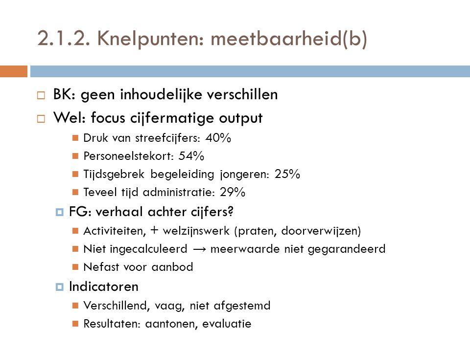 2.1.2. Knelpunten: meetbaarheid(b)  BK: geen inhoudelijke verschillen  Wel: focus cijfermatige output  Druk van streefcijfers: 40%  Personeelsteko