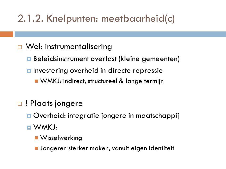 2.1.2. Knelpunten: meetbaarheid(c)  Wel: instrumentalisering  Beleidsinstrument overlast (kleine gemeenten)  Investering overheid in directe repres