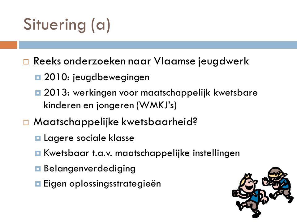 Situering (a)  Reeks onderzoeken naar Vlaamse jeugdwerk  2010: jeugdbewegingen  2013: werkingen voor maatschappelijk kwetsbare kinderen en jongeren