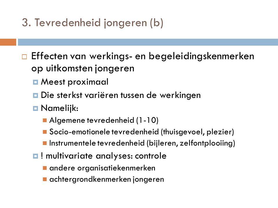 3. Tevredenheid jongeren (b)  Effecten van werkings- en begeleidingskenmerken op uitkomsten jongeren  Meest proximaal  Die sterkst variëren tussen
