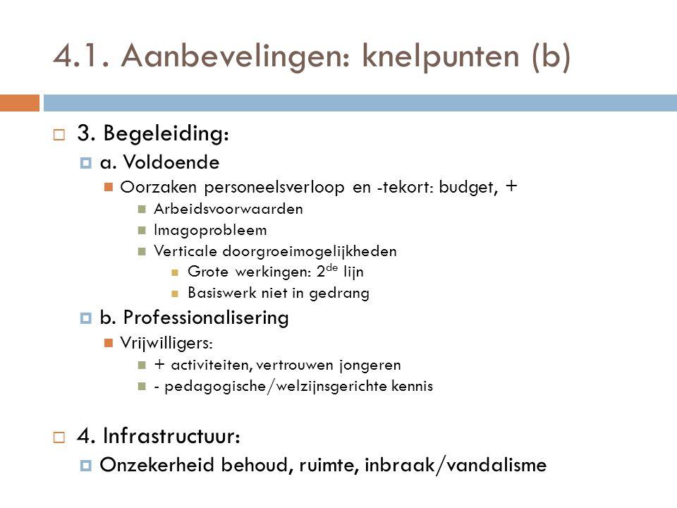 4.1. Aanbevelingen: knelpunten (b)  3. Begeleiding:  a. Voldoende  Oorzaken personeelsverloop en -tekort: budget, +  Arbeidsvoorwaarden  Imagopro