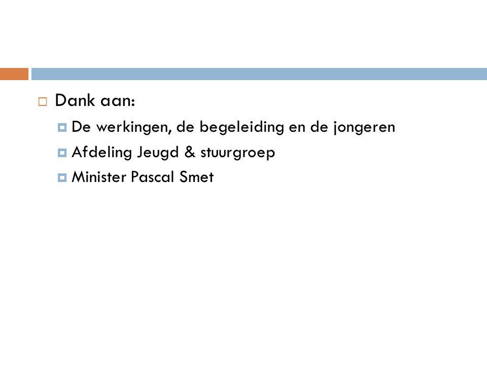  Dank aan:  De werkingen, de begeleiding en de jongeren  Afdeling Jeugd & stuurgroep  Minister Pascal Smet