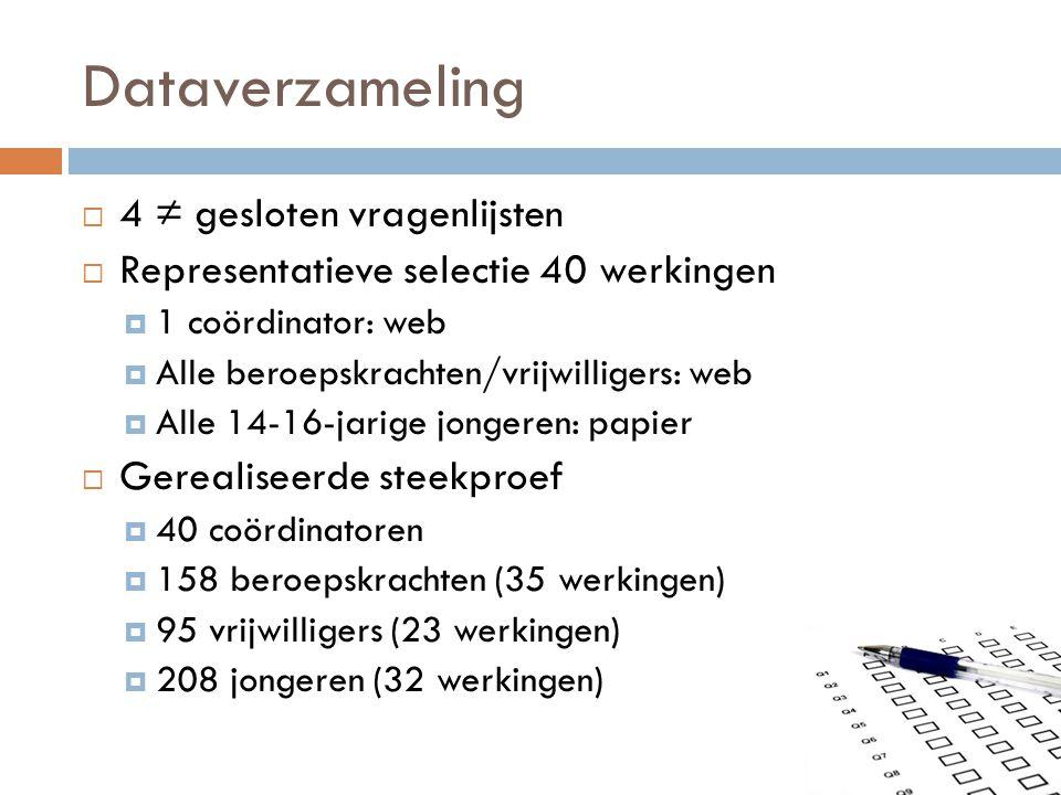 Dataverzameling  4 ≠ gesloten vragenlijsten  Representatieve selectie 40 werkingen  1 coördinator: web  Alle beroepskrachten/vrijwilligers: web 