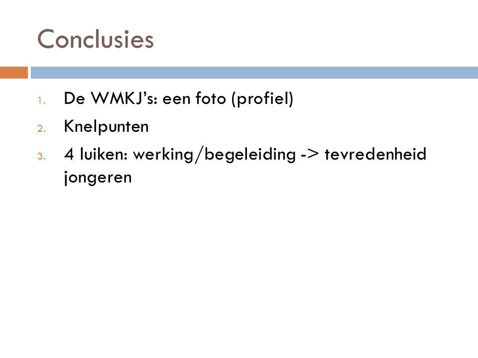 Conclusies 1. De WMKJ's: een foto (profiel) 2. Knelpunten 3. 4 luiken: werking/begeleiding -> tevredenheid jongeren