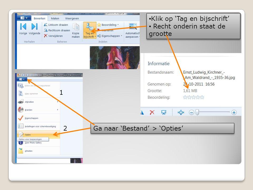 • Klik op 'Tag en bijschrift' • Recht onderin staat de grootte • Klik op 'Tag en bijschrift' • Recht onderin staat de grootte Ga naar 'Bestand' > 'Opt