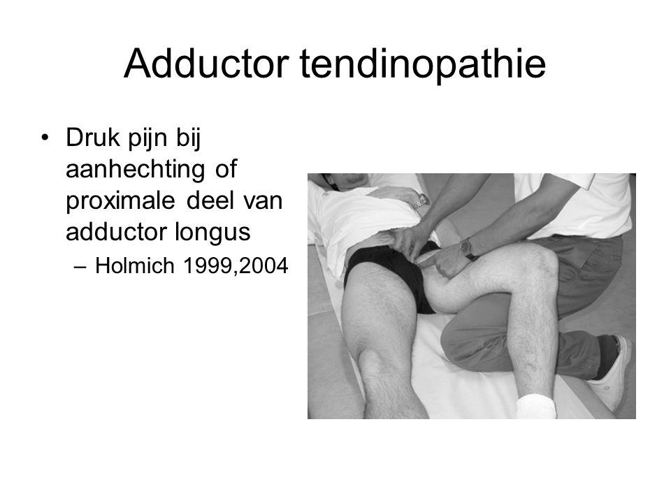 Adductor tendinopathie •Druk pijn bij aanhechting of proximale deel van adductor longus –Holmich 1999,2004
