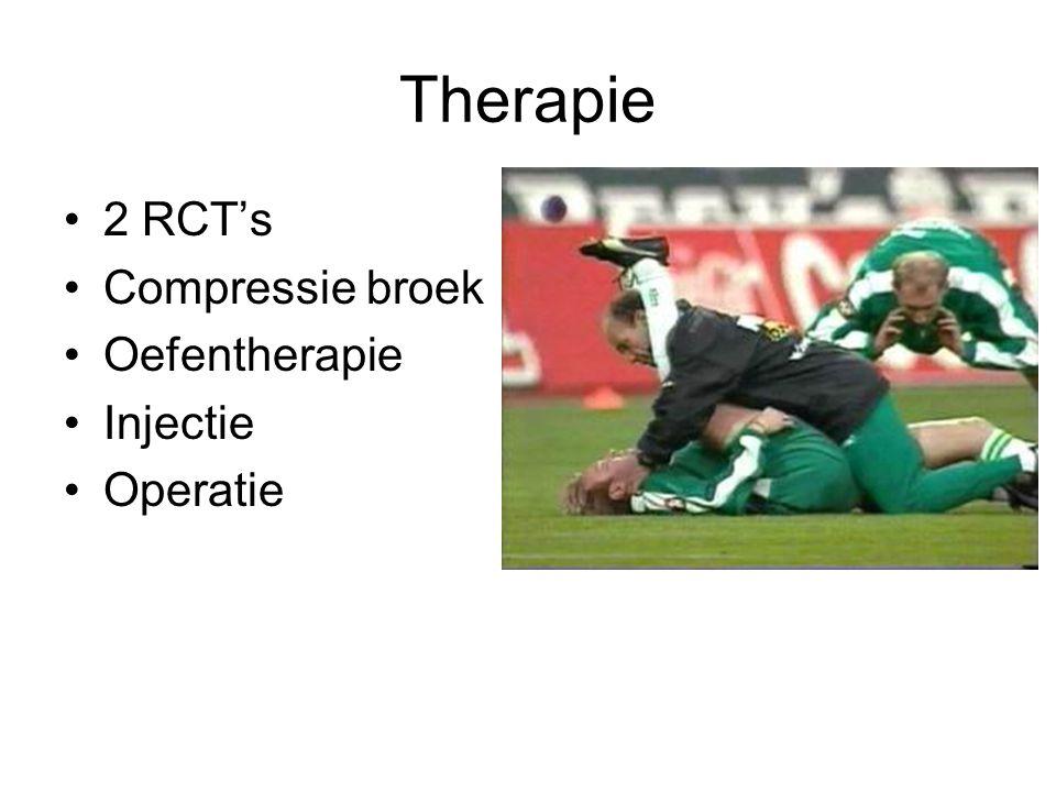 Therapie •2 RCT's •Compressie broek •Oefentherapie •Injectie •Operatie