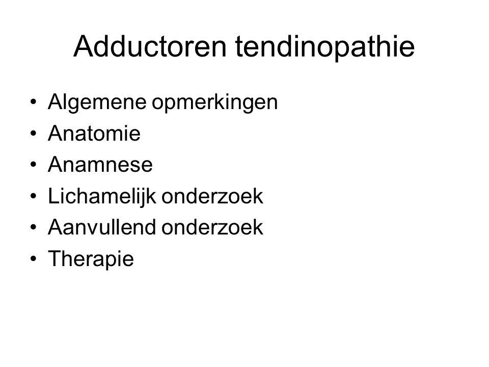 Adductoren tendinopathie •Algemene opmerkingen •Anatomie •Anamnese •Lichamelijk onderzoek •Aanvullend onderzoek •Therapie