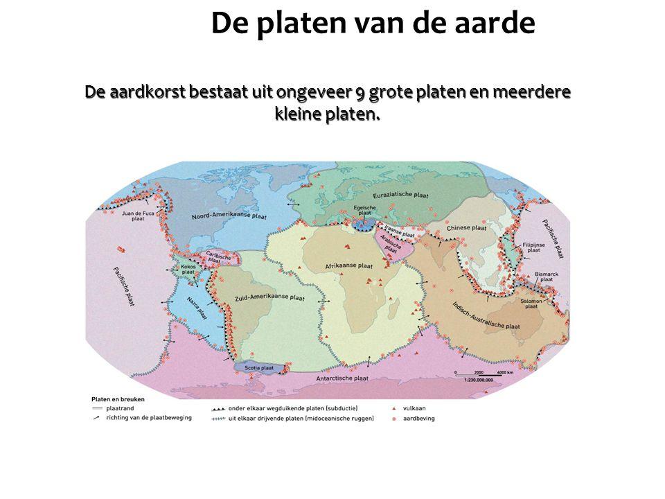 De platen van de aarde De aardkorst bestaat uit ongeveer 9 grote platen en meerdere kleine platen.