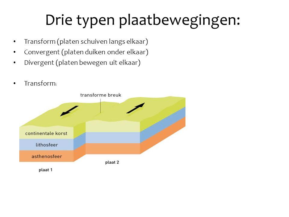 Drie typen plaatbewegingen: • Transform (platen schuiven langs elkaar) • Convergent (platen duiken onder elkaar) • Divergent (platen bewegen uit elkaar) • Transform :