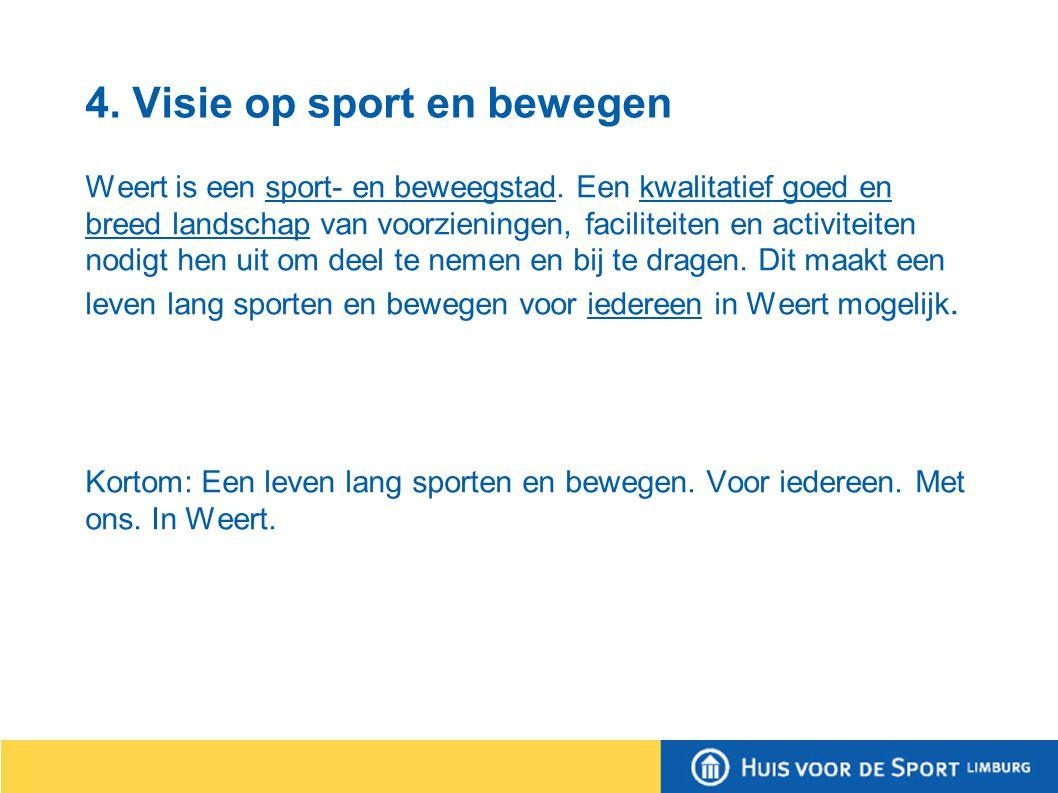 4. Visie op sport en bewegen Weert is een sport- en beweegstad.