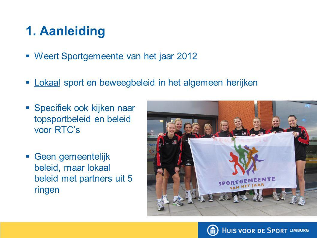 1. Aanleiding  Weert Sportgemeente van het jaar 2012  Lokaal sport en beweegbeleid in het algemeen herijken  Specifiek ook kijken naar topsportbele