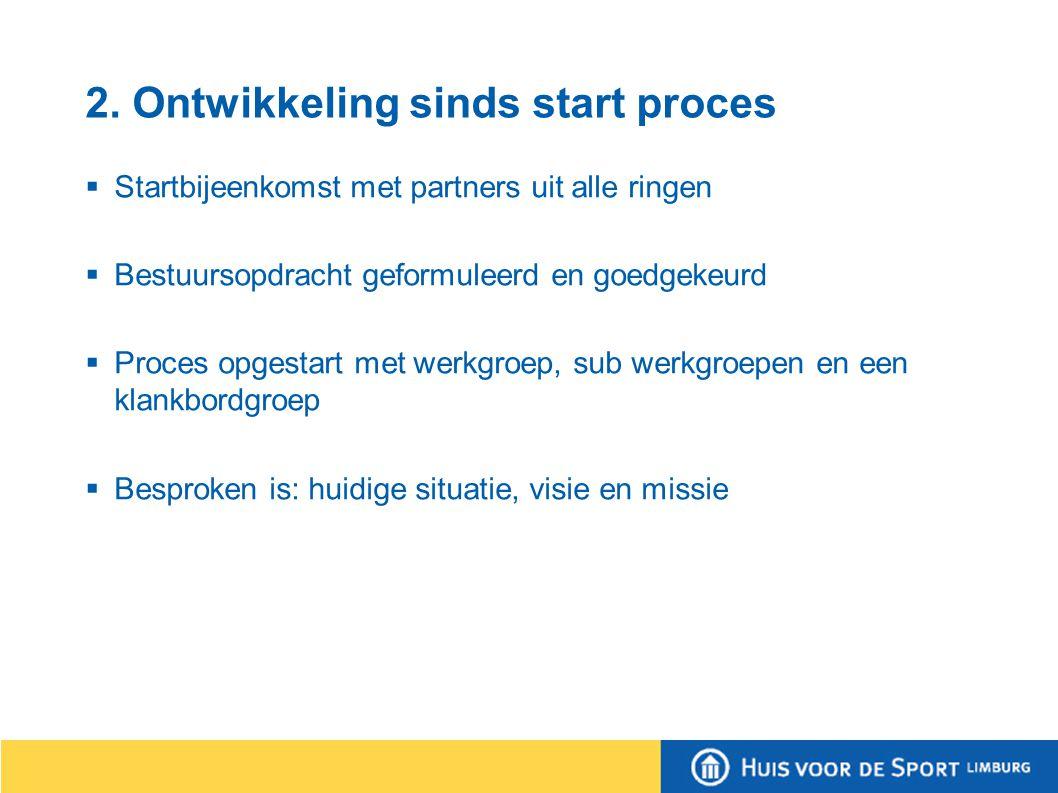 2. Ontwikkeling sinds start proces  Startbijeenkomst met partners uit alle ringen  Bestuursopdracht geformuleerd en goedgekeurd  Proces opgestart m