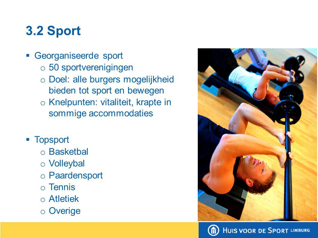 3.2 Sport  Ongeorganiseerd o Openbare wegen o Routestructuren o Trapveldjes o Sportpark St.
