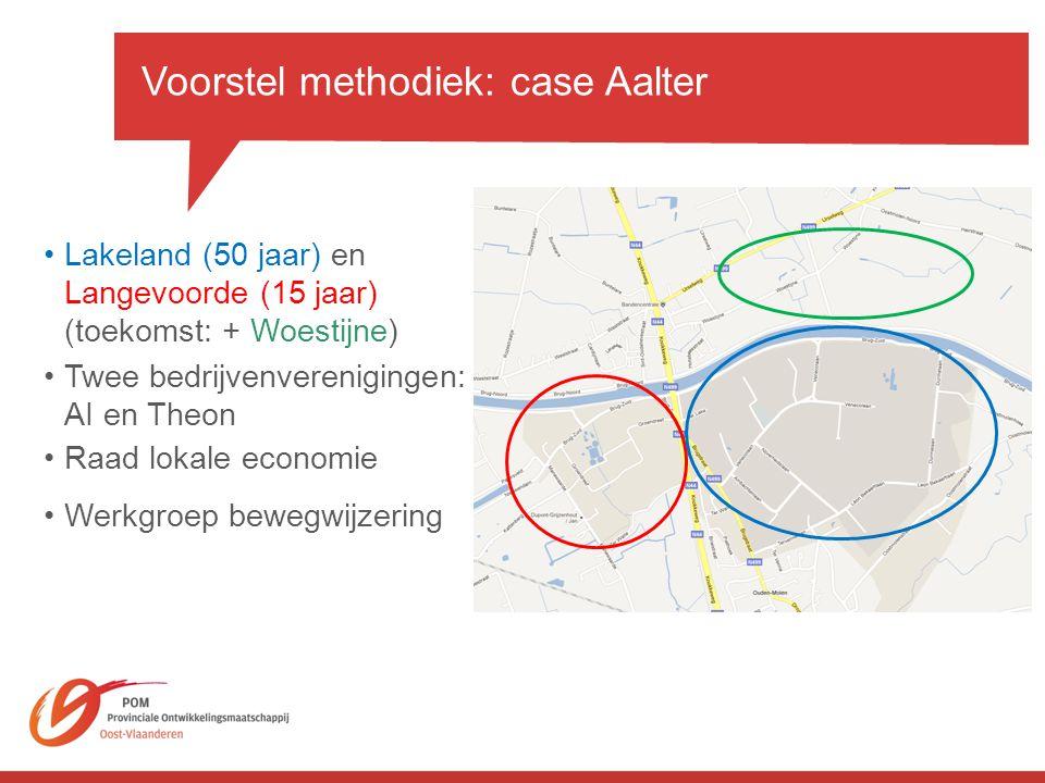 Voorstel methodiek: case Aalter •Lakeland (50 jaar) en Langevoorde (15 jaar) (toekomst: + Woestijne) •Raad lokale economie •Twee bedrijvenverenigingen: AI en Theon •Werkgroep bewegwijzering